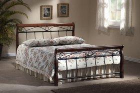 Łóżko sypialniane venecja 140x200 czereśnia antyczna drewno/czarny metal signal