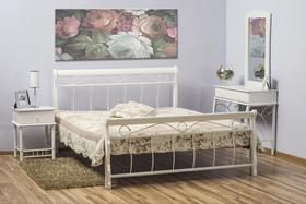 Łóżko sypialniane venecja 120x200 białe drewno/biały metal signal