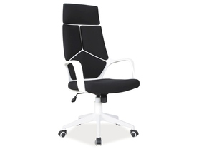 Fotel obrotowy Q-199 czarno - biała tkanina Signal