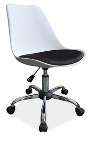 Fotel obrotowy q-777 biało/czarny tworzywo/ekoskóra signal