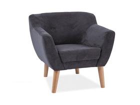 Fotel bergen ciemny szary/buk tkanina/drewno signal