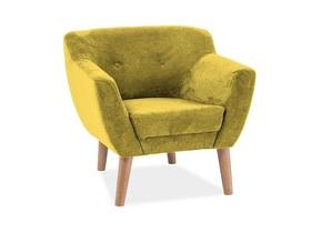 Fotel bergen żółty/buk tkanina/drewno signal