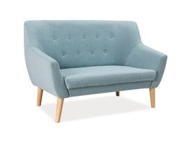 Sofa nordic 2 os. jasno niebieski/buk tkanina/drewno signal