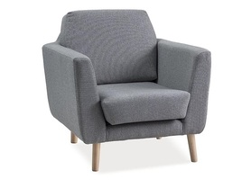 Fotel lester szary/buk tkanina/drewno signal