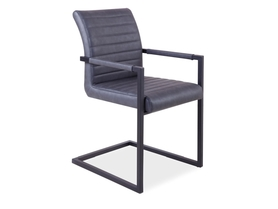 Krzesło solid szaro/czarne ekoskóra/metal signal