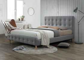 Łóżko sypialniane alice szara tkanina 160x200 signal