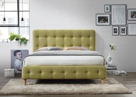 Łóżko sypialniane alice zielona tkanina 160x200 signal