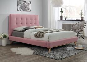 Łóżko sypialniane dona róż tkanina 160x200 signal