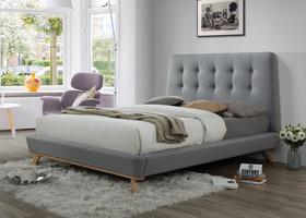 Łóżko sypialniane dona szara tkanina 160x200 signal