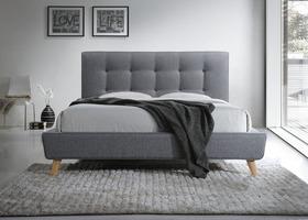 Łóżko sypialniane sevilla szara tkanina 140x200 signal.