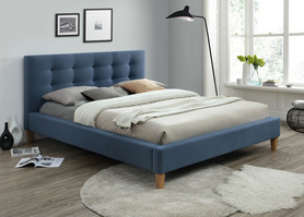 Łóżko sypialniane texas 160x200 denim tkanina signal