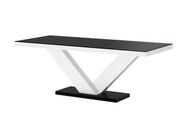Rozkładany stół victoria czarno-biały 160(208÷256)x89 mdf hubertus