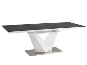 Stół Alaras II 120(180)x80 efekt kamienia/czarny/biały szkło/mdf/stal Signal
