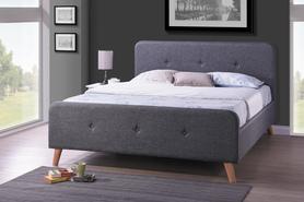 Łóżko sypialniane Malmo 180x200 szara tkanina/dąb drewno signal