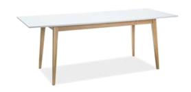 Rozkładany stół Cesar 160(205)x80 biały/dąb płyta laminowana/drewno Signal
