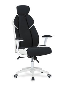 Fotel obrotowy Chrono czarno-biała tkanina/ekoskóra Halmar