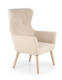 Fotel wypoczynkowy cotto beż/naturalny tkanina/drewno halmar