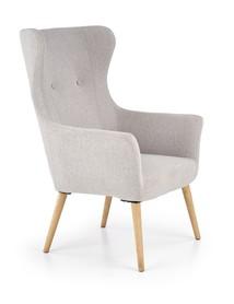 Fotel wypoczynkowy cotto jasny popiel/naturalny tkanina/drewno halmar