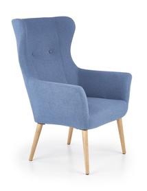 Fotel wypoczynkowy cotto niebieski/naturalny tkanina/drewno halmar