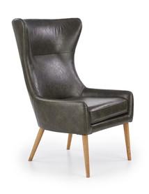 Fotel wypoczynkowy pu favaro ciemny brąz eco skóra/drewno halmar