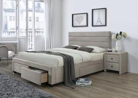 Łóżko sypialniane kayleon 160x200 beż/orzech tkanina/drewno szuflady halmar