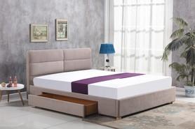 Łóżko sypialniane Merida 160x200 beżowa tkanina szuflada Halmar