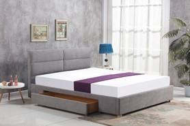 Łóżko sypialniane Merida 160x200 jasny popiel tkanina szuflada Halmar
