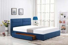 Łóżko sypialniane z szufladą merida 160x200 niebieska tkanina halmar