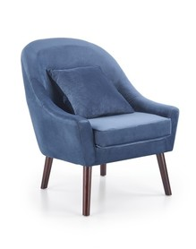 Fotel wypoczynkowy opale ciemny niebieski/ciemny orzech tkanina/drewno halmar
