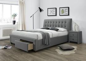 Łóżko sypialniane percy 160x200 popiel tkanina/drewno szuflady halmar