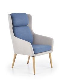 Fotel wypoczynkowy purio jasny popiel/niebieski tkanina/drewno halmar