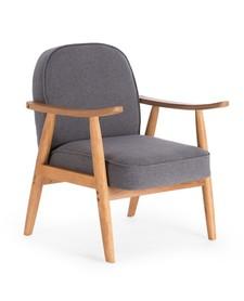 Fotel wypoczynkowy retro popiel tkanina/drewno halmar