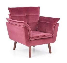Fotel wypoczynkowy rezzo bordo/ciemny orzech tkanina/drewno halmar