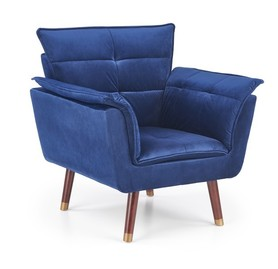 Fotel wypoczynkowy rezzo granat/ciemny orzech tkanina/drewno halmar