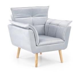 Fotel wypoczynkowy rezzo jasny popiel/naturalny tkanina/drewno halmar