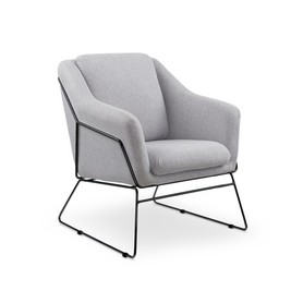 Fotel wypoczynkowy soft 2 jasny popiel/czerń tkanina/stal halmar