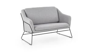 Fotel wypoczynkowy podwójny soft 2 xl jasny popiel/czerń tkanina/stal halmar