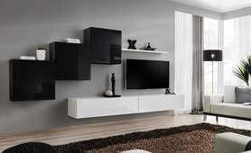 Meblościanka switch 10 czarno-biały mat/połysk