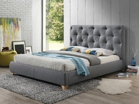 Łóżko sypialniane bugatti szara tkanina 160x200 signal