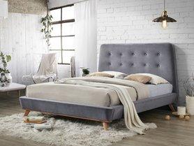 Łóżko sypialniane dona velvet szara tkanina 160x200 signal