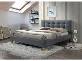 Łóżko sypialniane Texas 180x200 szara tkanina/dąb signal