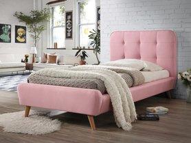 Łóżko sypialniane Tiffany 90x200 różowa tkanina/dąb signal