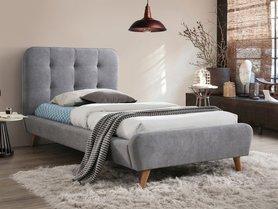 Łóżko sypialniane Tiffany 90x200 szara tkanina/dąb signal