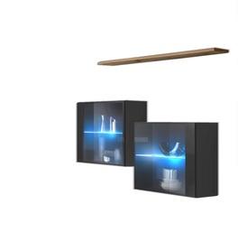 KOMODA WISZĄCA Z PÓŁKĄ SWITCH SB III GRAFIT/WOTAN + LED