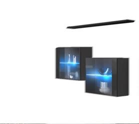 Komoda wisząca z półką switch sb iii grafit/czarny + led