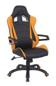 Fotel obrotowy Mustang czarny/pomarańcz ekoskóra/tkanina Halmar