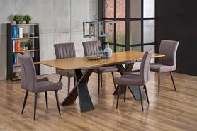 Rozkładany stół Chandler 160(220)x90 dąb/czarny mdf/okleina/stal Halmar