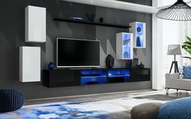 Meblościanka Switch 25 biało - czarny mat/połysk + LED