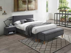 Łóżko sypialniane Azurro 140x200 szary velvet signal
