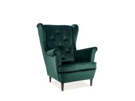 Fotel uszak Lady matt zielony aksamit signal